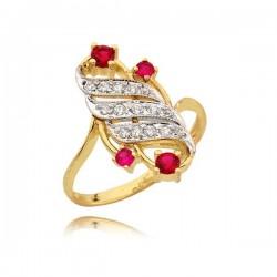 Pierścionek o ciekawym kształcie z rubinami i cyrkoniami