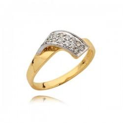Złoty pierścionek z nakładką z białego złota i cyrkoniami