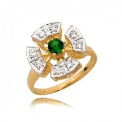 Śliczny złoty pierścionek z zieloną cyrkonią