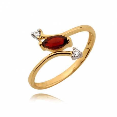 Efektowny pierścionek z cyrkoniami i rubinem