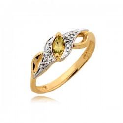 Śliczny delikatny pierścionek z żółtą cyrkonią