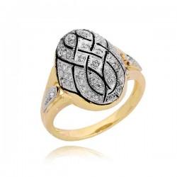 Niesamowity złoty pierścionek z cyrkoniami