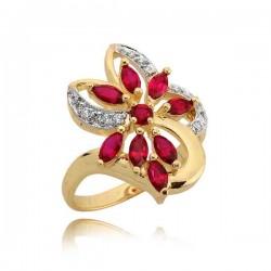 Śliczny pierścionek z efektownym kwiatuszkiem z rubinów