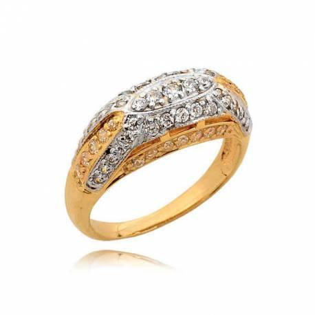 Elegancki złoty pierścionek efektownie zdobiony