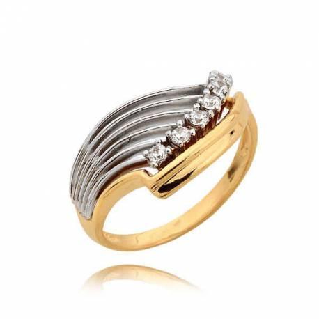Pierścionek z żółtego złota z nakładką białego złota