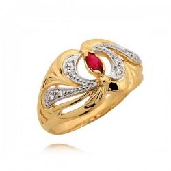 Złoty pierścionek z niezwykłym wzorem i rubinem