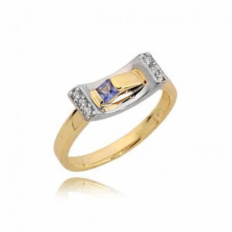 Złoty pierścionek z nakładką z białego złota i topazem
