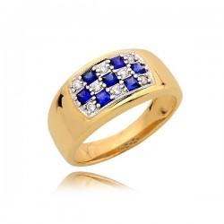 Złoty pierścionek z cyrkoniami i szafirkami