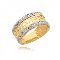 Złoty pierścionek,grecki wzór z cyrkoniami