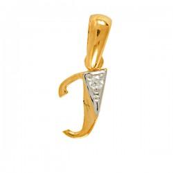 Wisiorek,złota literka z cyrkonią I
