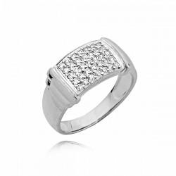 Złoty pierścionek z pięknymi cyrkoniami z białego złota
